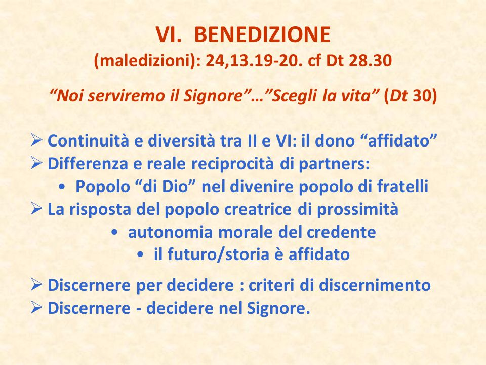 VI. BENEDIZIONE (maledizioni): 24,13.19-20. cf Dt 28.30
