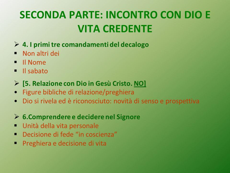SECONDA PARTE: INCONTRO CON DIO E VITA CREDENTE