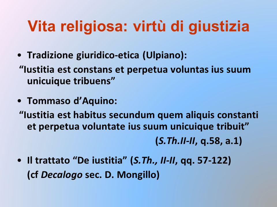 Vita religiosa: virtù di giustizia