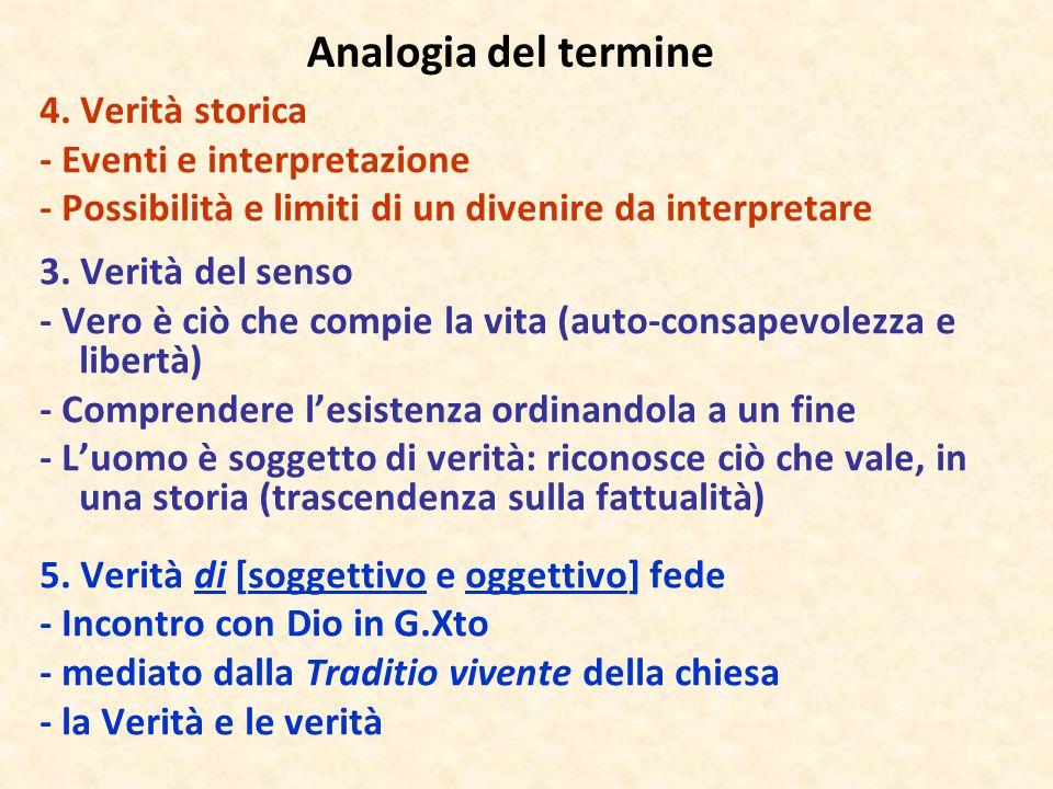 Analogia del termine 4. Verità storica - Eventi e interpretazione