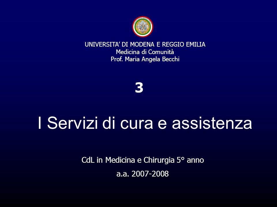 I Servizi di cura e assistenza