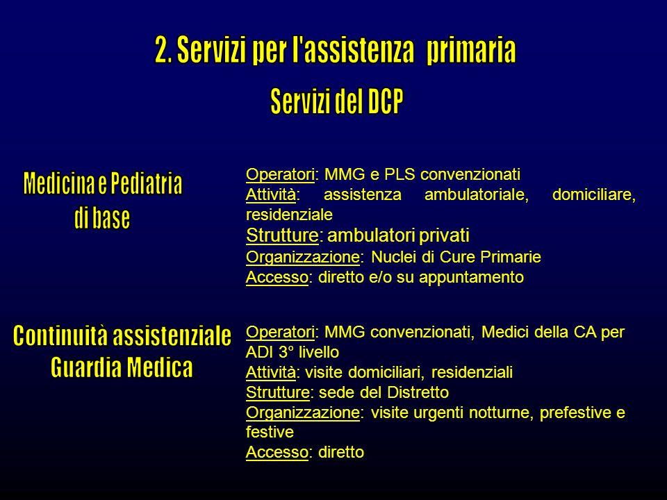 2. Servizi per l assistenza primaria