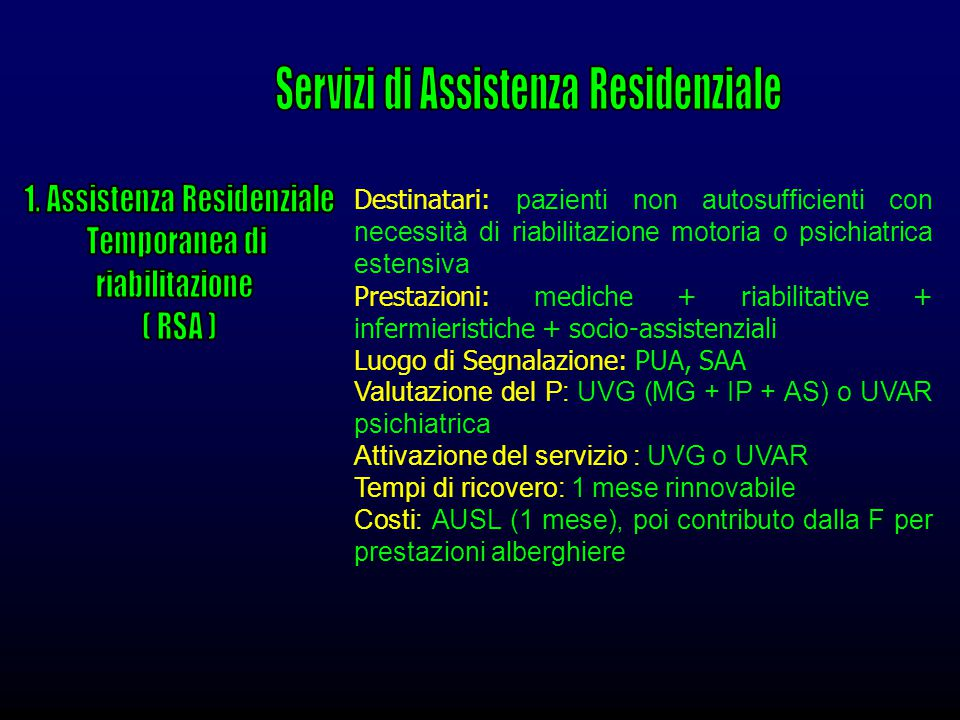Servizi di Assistenza Residenziale