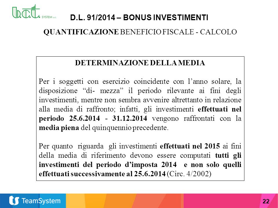 D.L. 91/2014 – BONUS INVESTIMENTI DETERMINAZIONE DELLA MEDIA