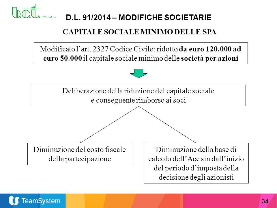 D.L. 91/2014 – MODIFICHE SOCIETARIE CAPITALE SOCIALE MINIMO DELLE SPA