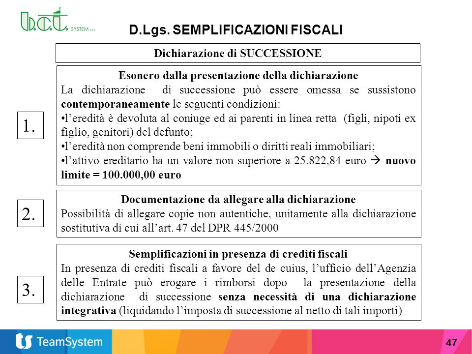 1. 2. 3. D.Lgs. SEMPLIFICAZIONI FISCALI Dichiarazione di SUCCESSIONE