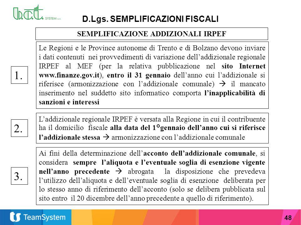 D.Lgs. SEMPLIFICAZIONI FISCALI SEMPLIFICAZIONE ADDIZIONALI IRPEF