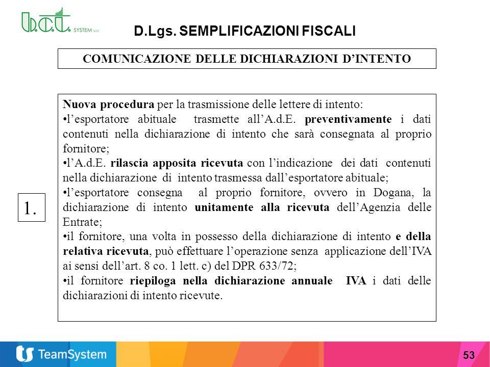 1. D.Lgs. SEMPLIFICAZIONI FISCALI