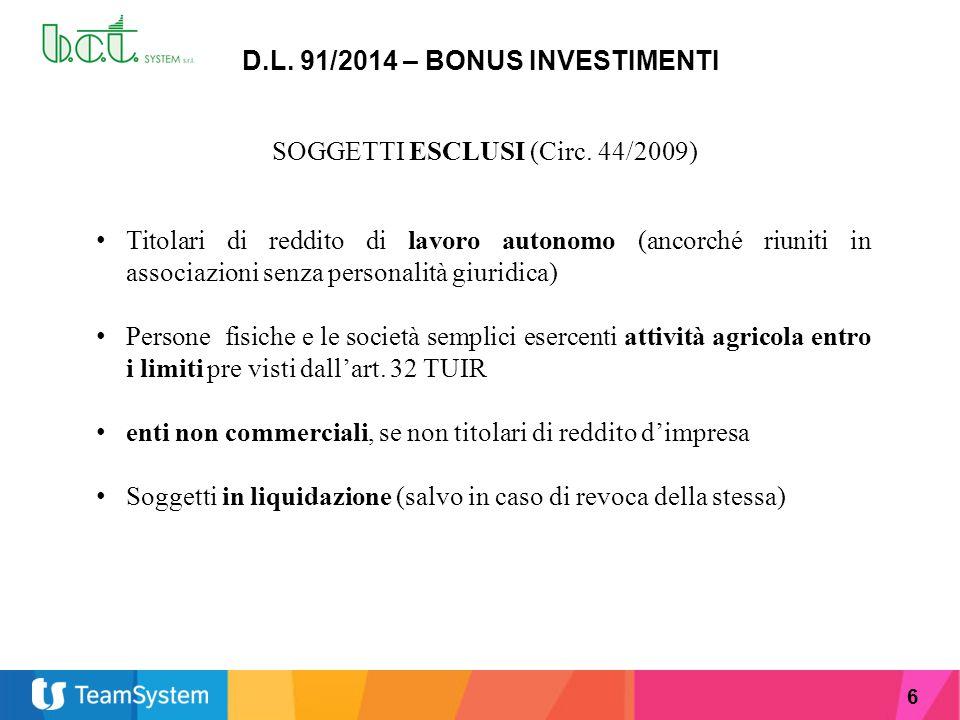 D.L. 91/2014 – BONUS INVESTIMENTI