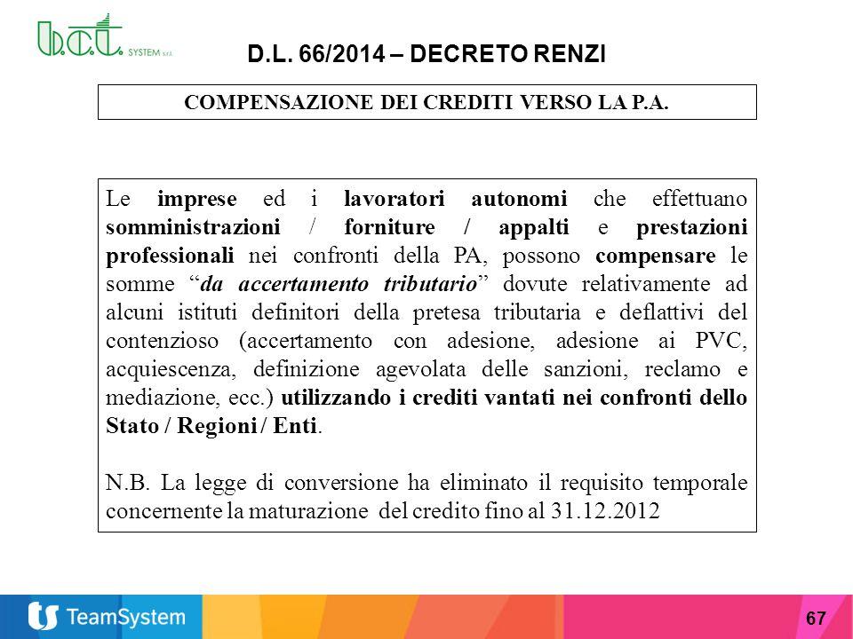 COMPENSAZIONE DEI CREDITI VERSO LA P.A.