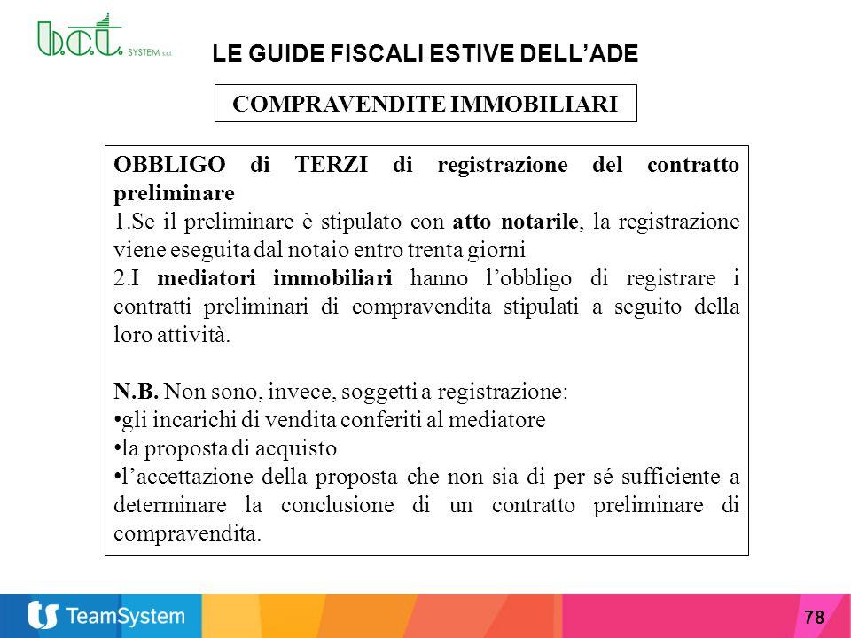 LE GUIDE FISCALI ESTIVE DELL'ADE COMPRAVENDITE IMMOBILIARI