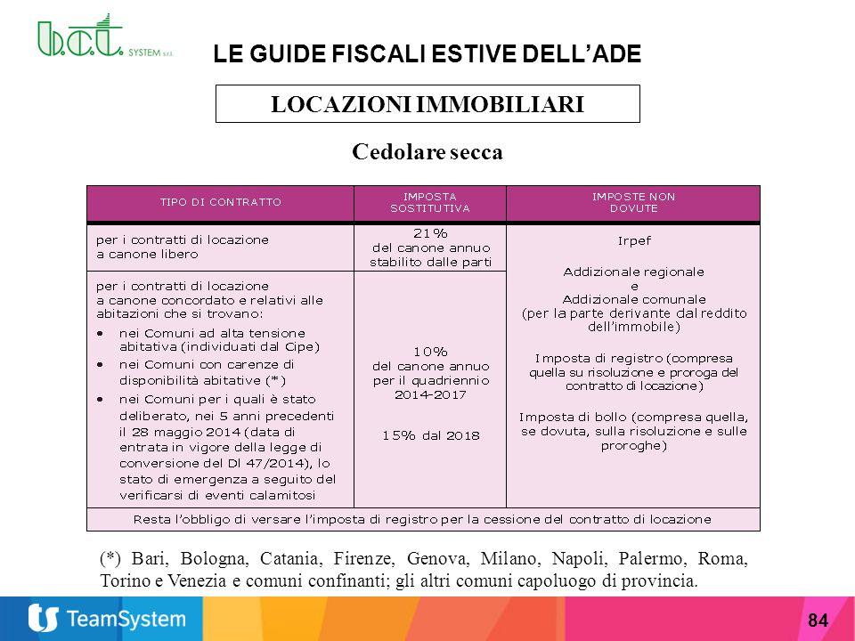 LE GUIDE FISCALI ESTIVE DELL'ADE LOCAZIONI IMMOBILIARI