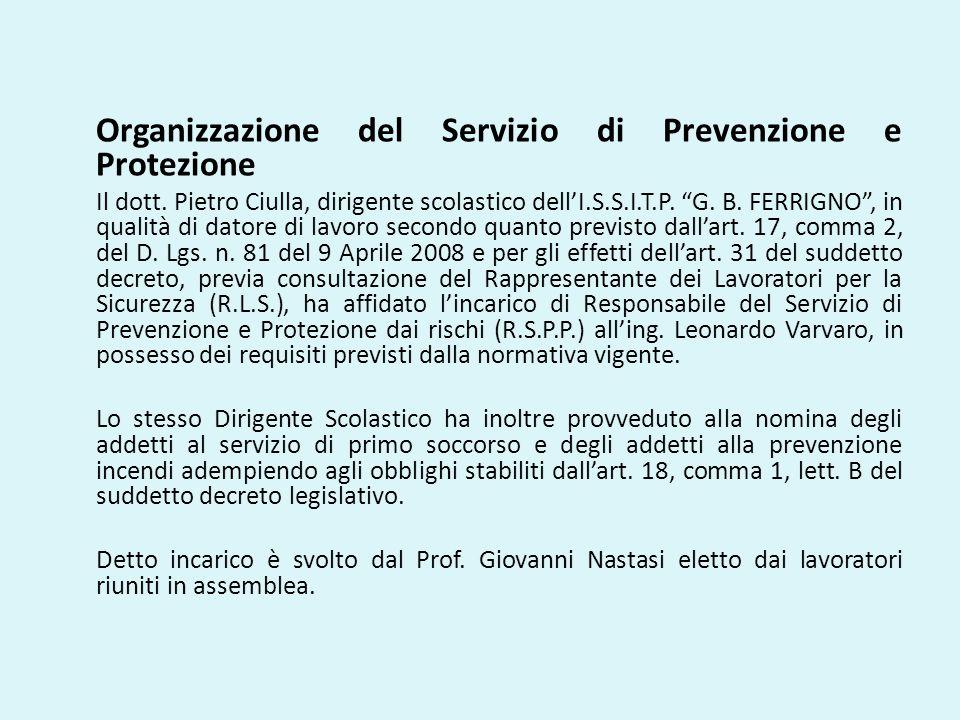 Organizzazione del Servizio di Prevenzione e Protezione