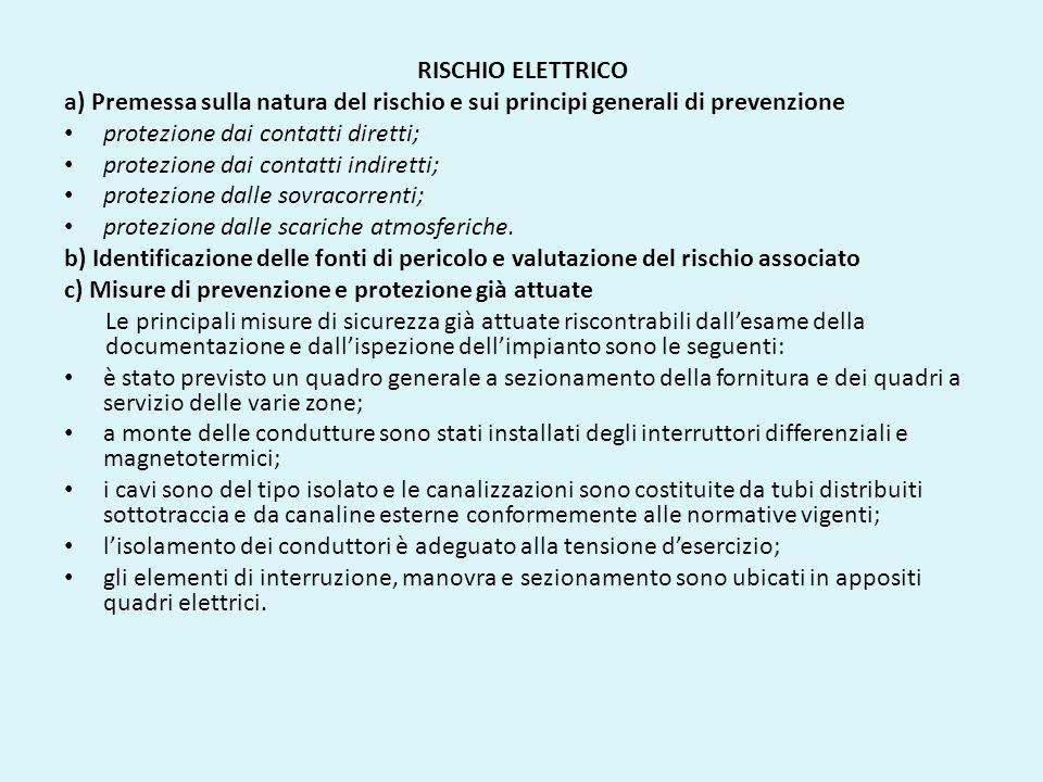 RISCHIO ELETTRICO a) Premessa sulla natura del rischio e sui principi generali di prevenzione. protezione dai contatti diretti;