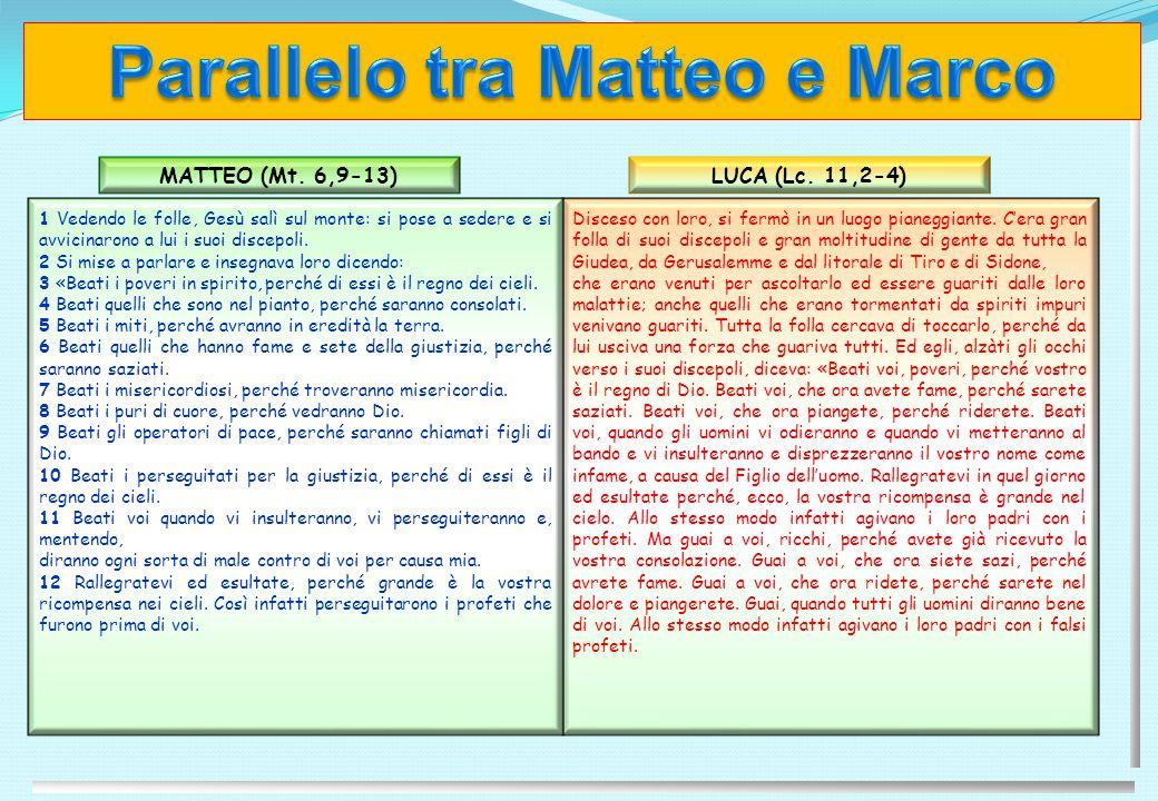 Parallelo tra Matteo e Marco