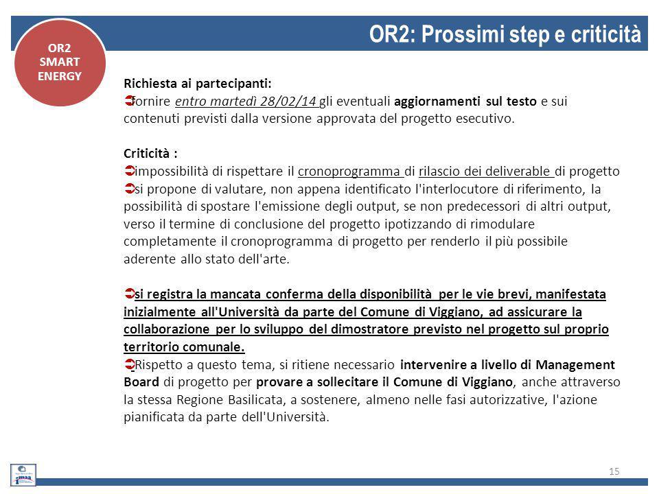 OR2: Prossimi step e criticità