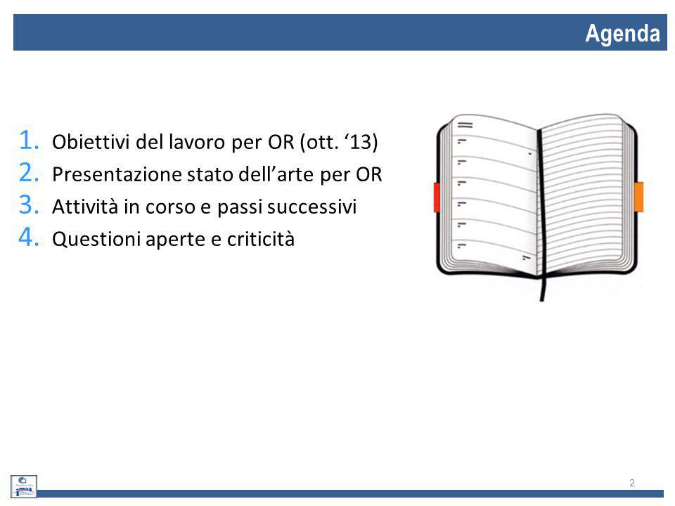 Agenda Obiettivi del lavoro per OR (ott. '13)