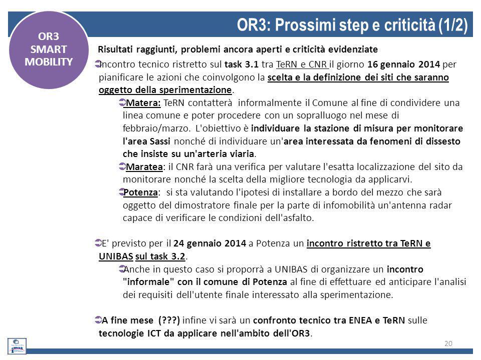 OR3: Prossimi step e criticità (1/2)