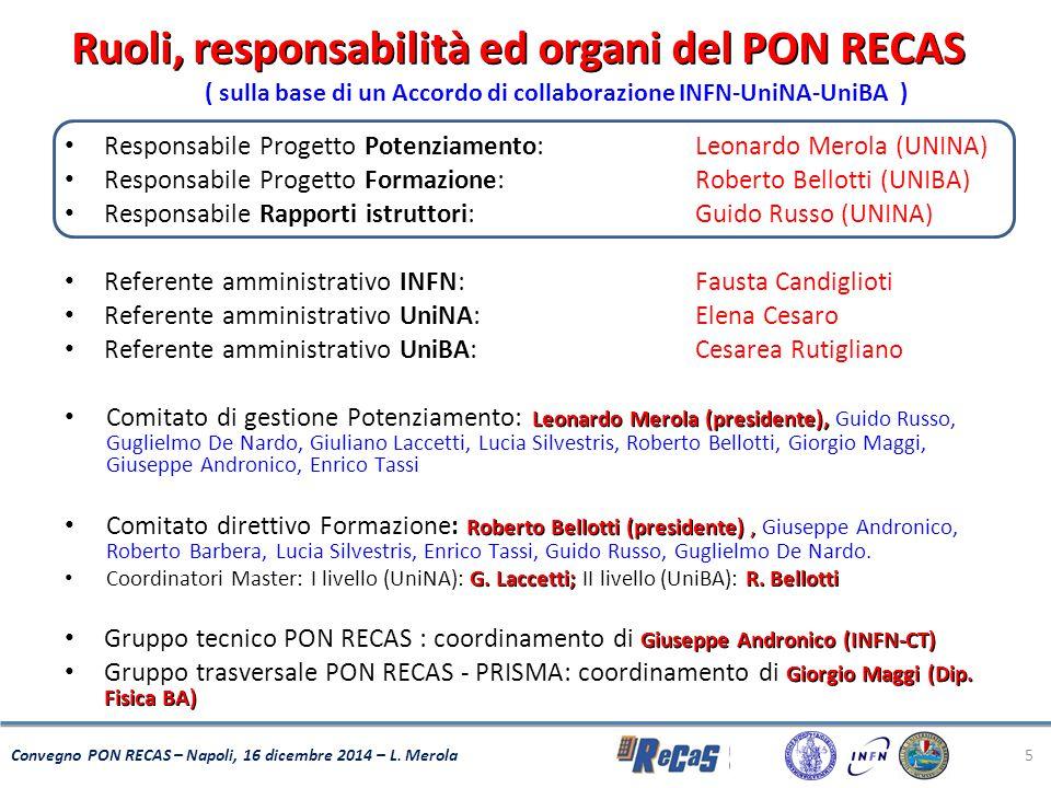 Ruoli, responsabilità ed organi del PON RECAS