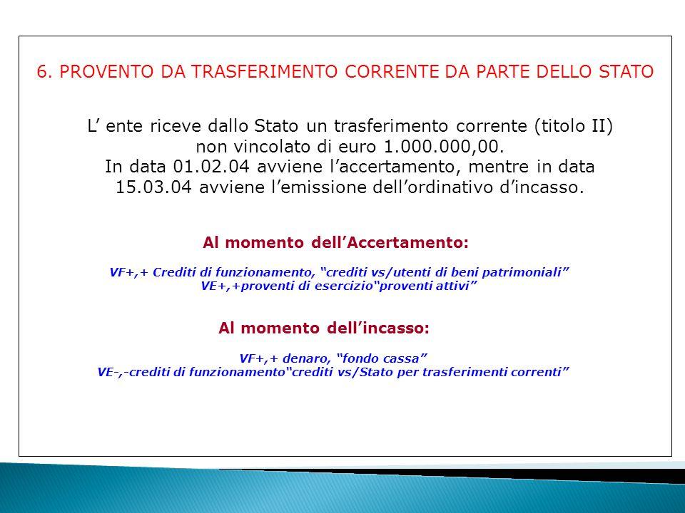 6. PROVENTO DA TRASFERIMENTO CORRENTE DA PARTE DELLO STATO