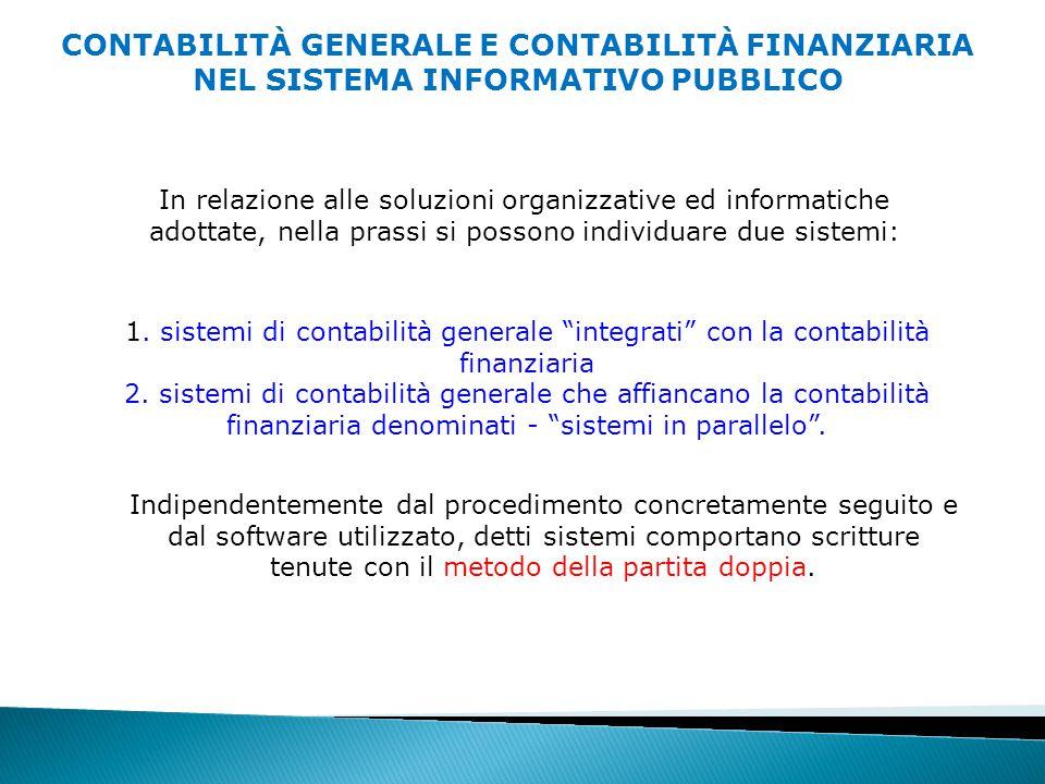 CONTABILITÀ GENERALE E CONTABILITÀ FINANZIARIA NEL SISTEMA INFORMATIVO PUBBLICO