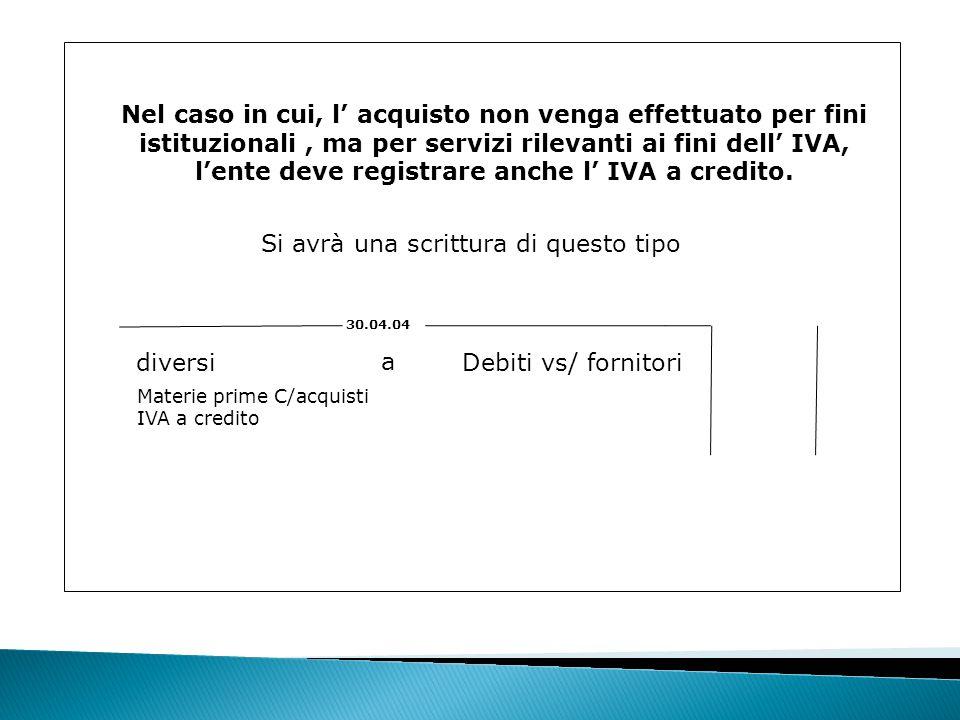 l'ente deve registrare anche l' IVA a credito.