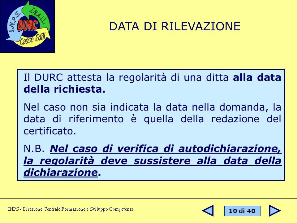 DATA DI RILEVAZIONE Il DURC attesta la regolarità di una ditta alla data della richiesta.