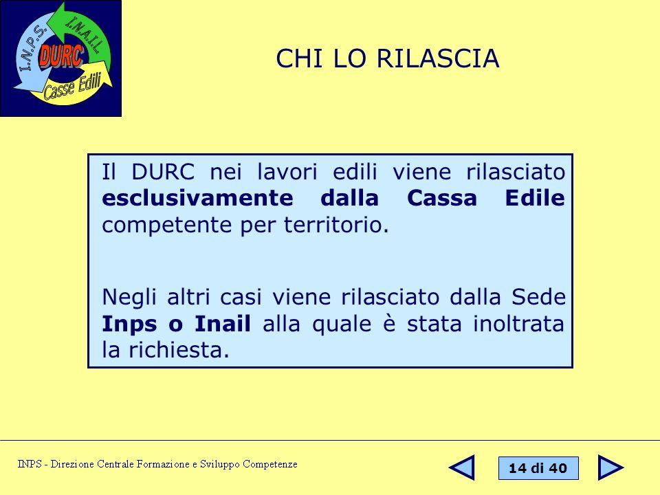 CHI LO RILASCIA Il DURC nei lavori edili viene rilasciato esclusivamente dalla Cassa Edile competente per territorio.