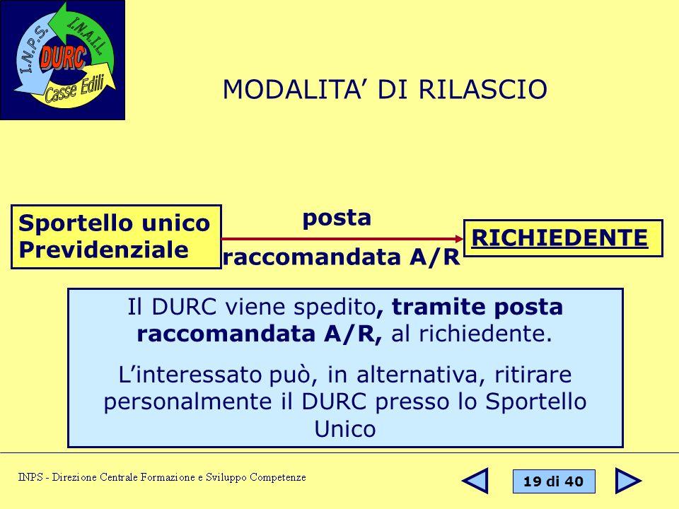 Il DURC viene spedito, tramite posta raccomandata A/R, al richiedente.