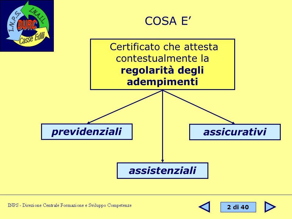 COSA E' Certificato che attesta contestualmente la regolarità degli adempimenti. previdenziali. assicurativi.