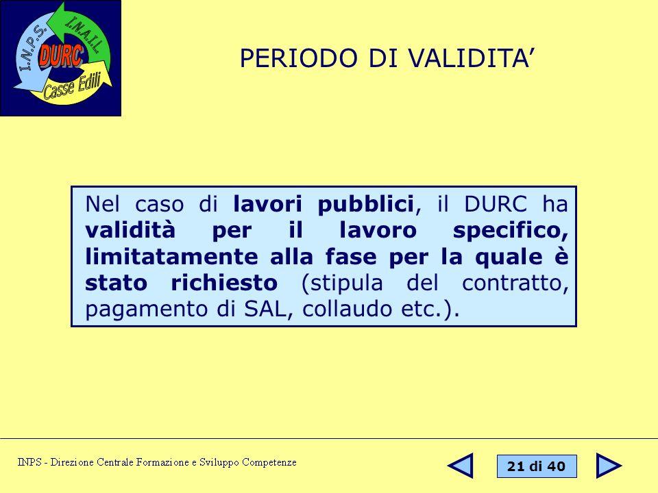 PERIODO DI VALIDITA'