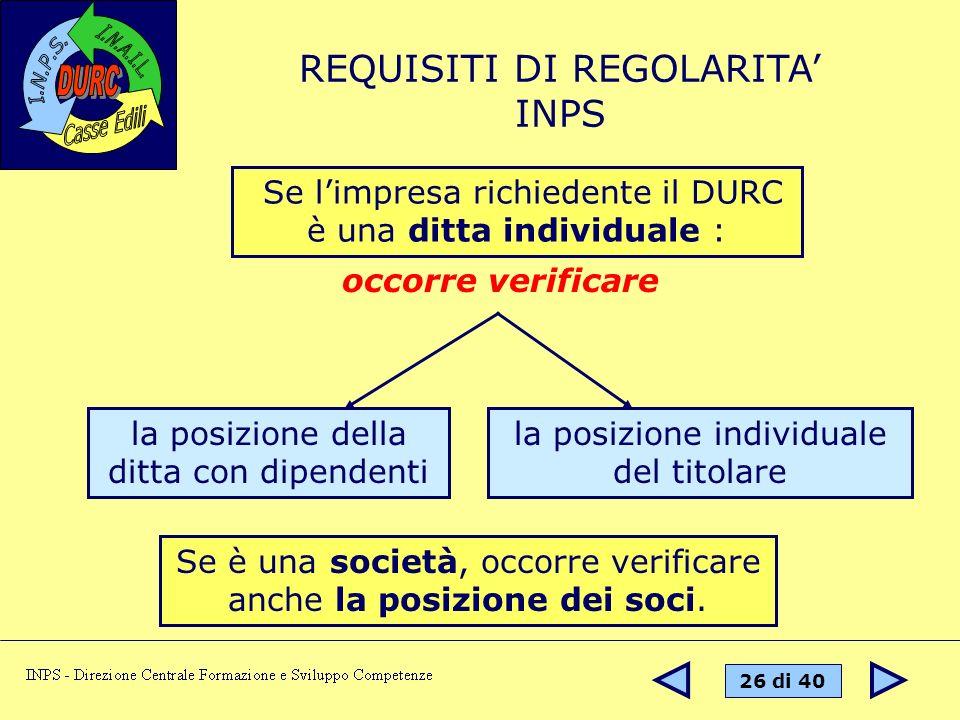 REQUISITI DI REGOLARITA' INPS