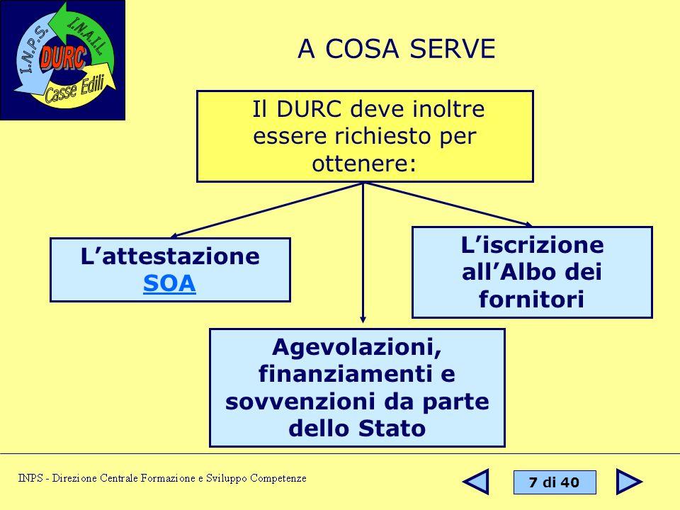 A COSA SERVE Il DURC deve inoltre essere richiesto per ottenere: