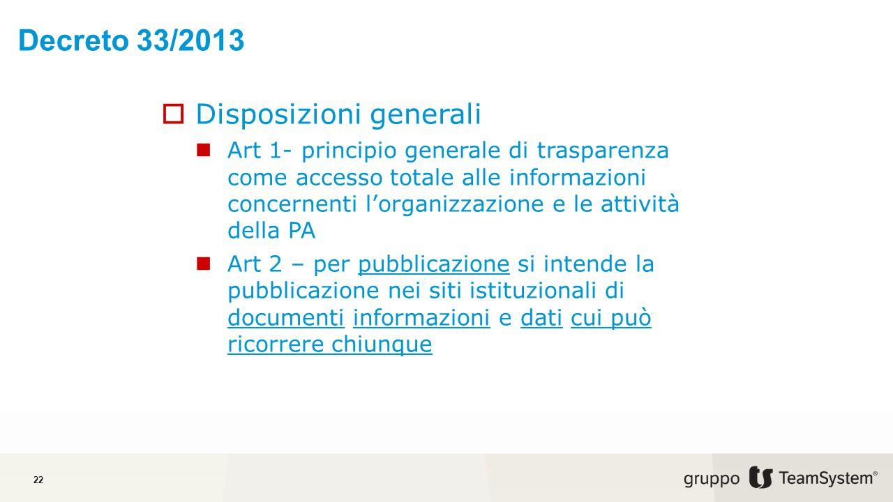 Decreto 33/2013 Disposizioni generali