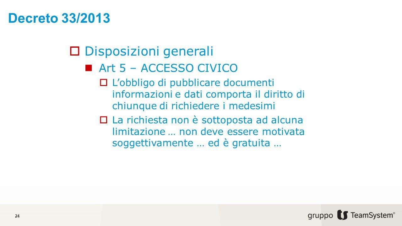 Decreto 33/2013 Disposizioni generali Art 5 – ACCESSO CIVICO