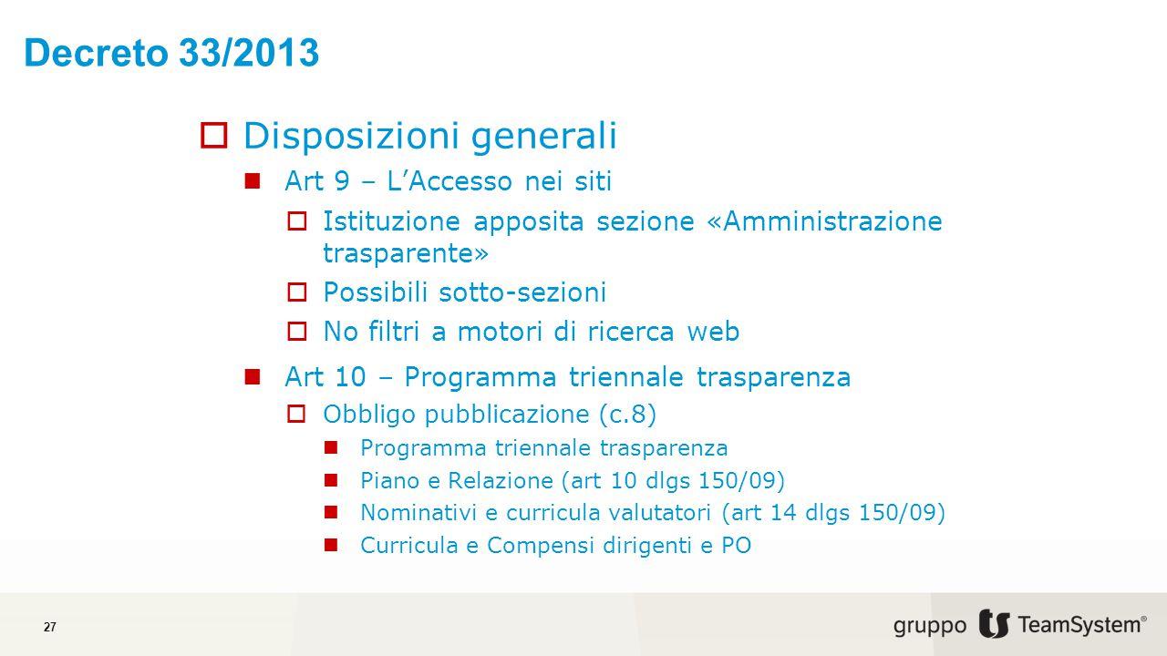 Decreto 33/2013 Disposizioni generali Art 9 – L'Accesso nei siti