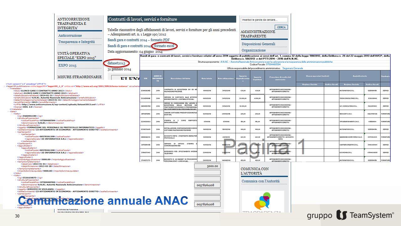 Comunicazione annuale ANAC