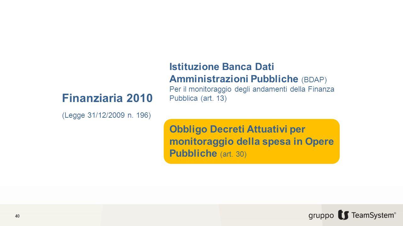 Istituzione Banca Dati Amministrazioni Pubbliche (BDAP)