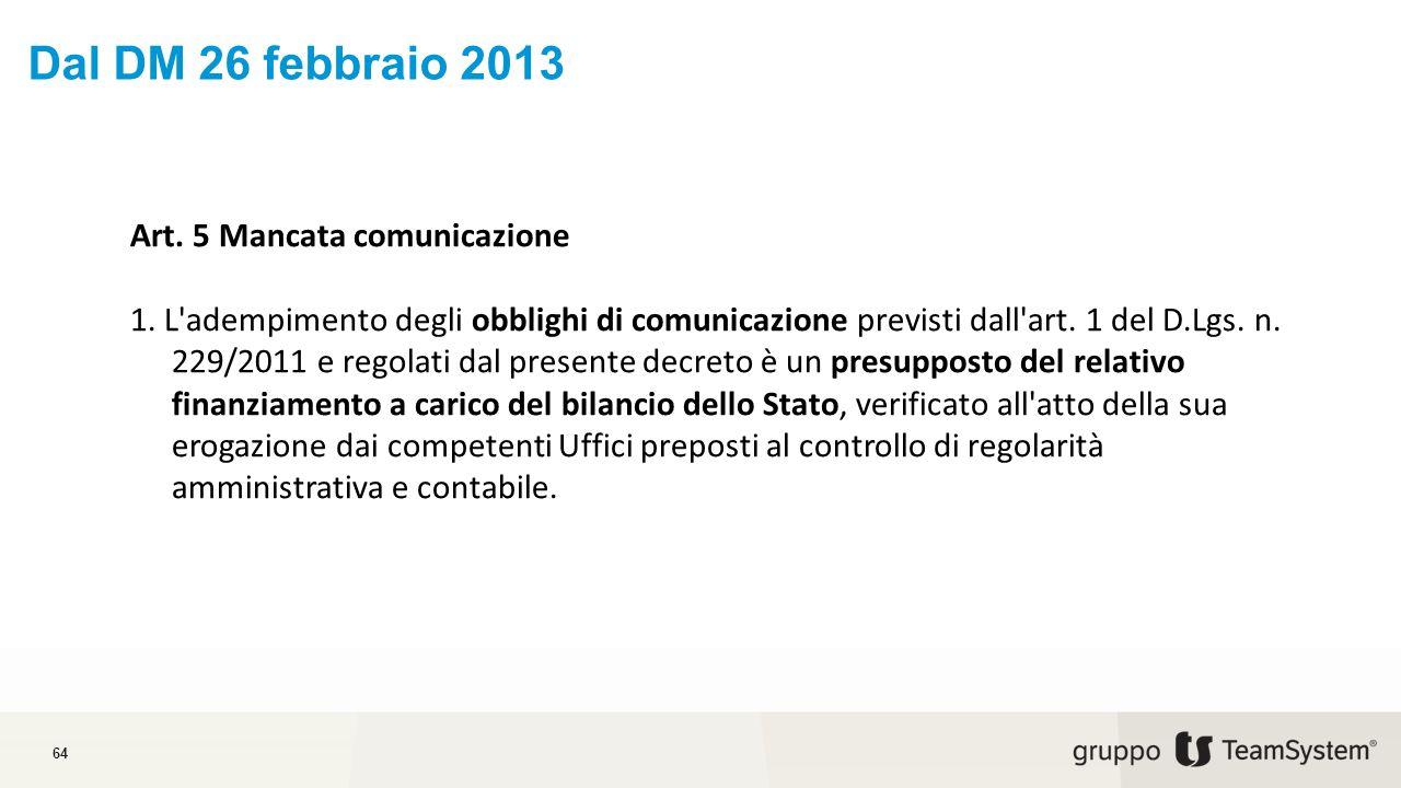 Dal DM 26 febbraio 2013 Art. 5 Mancata comunicazione