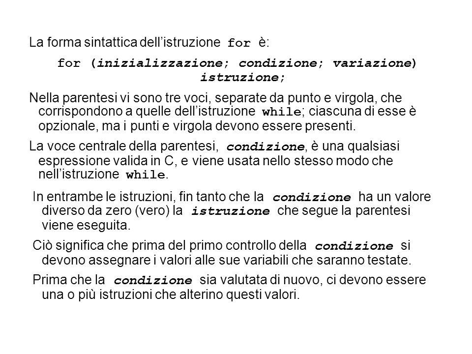 for (inizializzazione; condizione; variazione) istruzione;