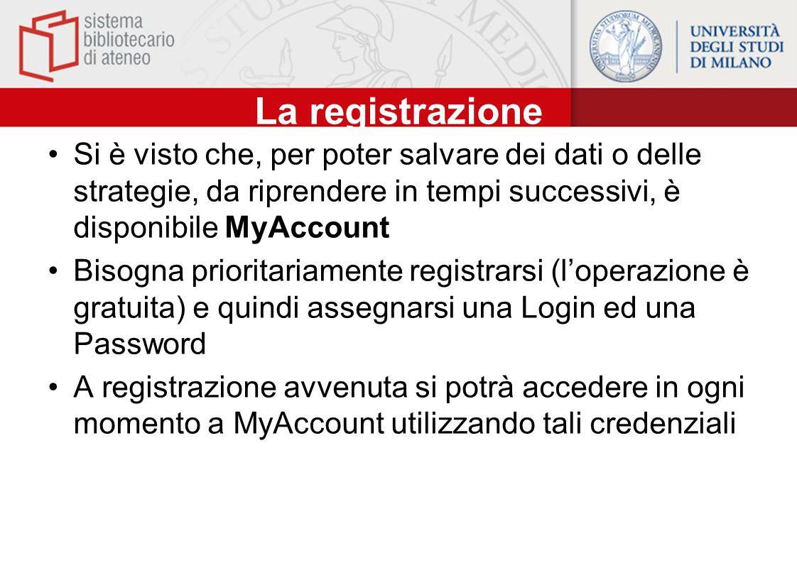 La registrazione Si è visto che, per poter salvare dei dati o delle strategie, da riprendere in tempi successivi, è disponibile MyAccount.