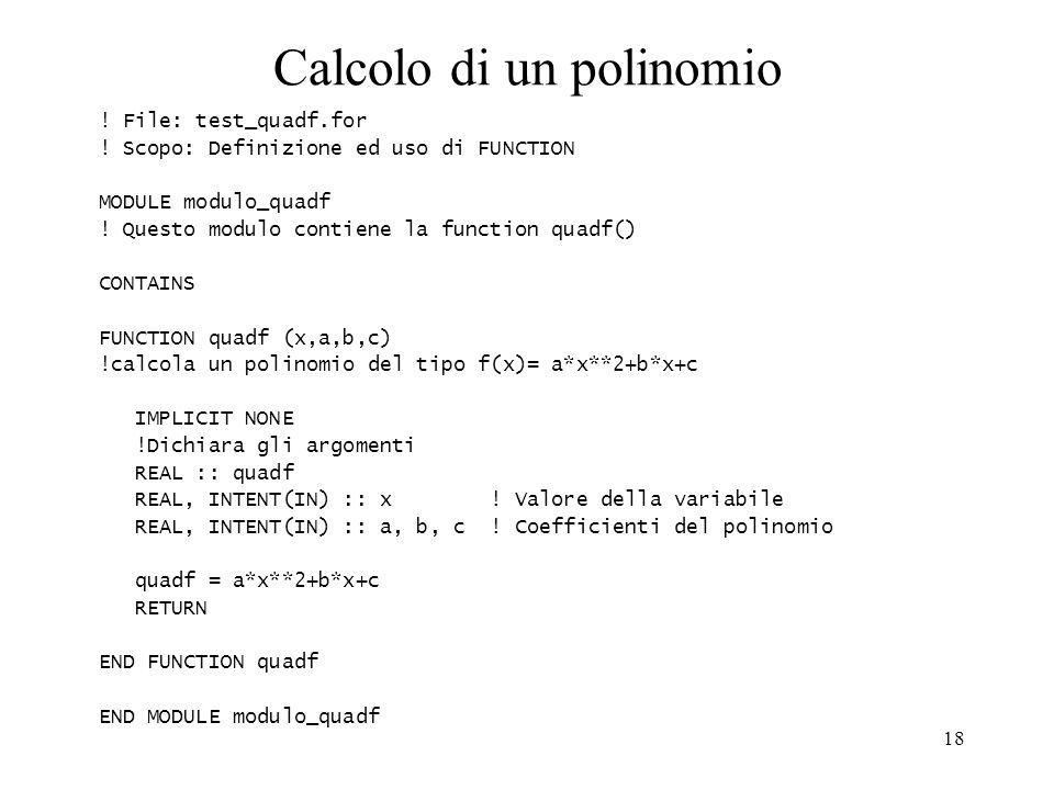 Calcolo di un polinomio