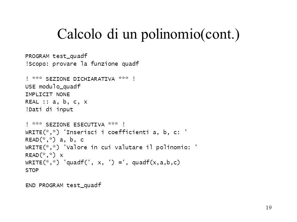 Calcolo di un polinomio(cont.)