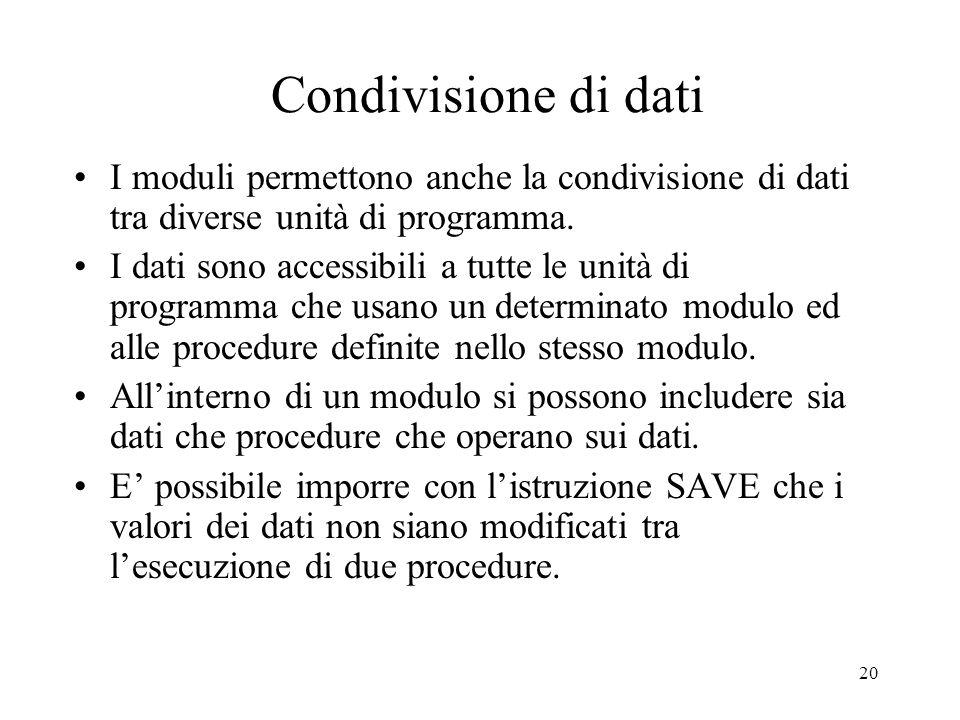 Condivisione di dati I moduli permettono anche la condivisione di dati tra diverse unità di programma.