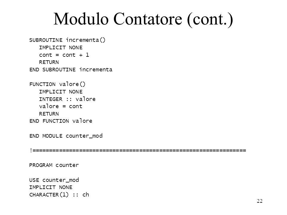 Modulo Contatore (cont.)