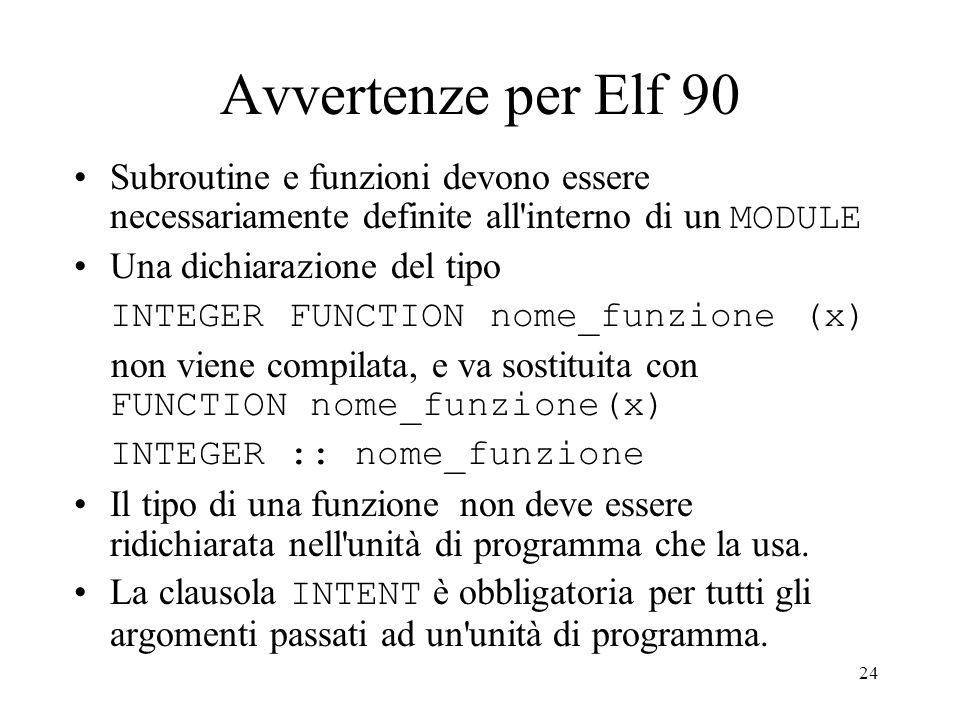 Avvertenze per Elf 90 Subroutine e funzioni devono essere necessariamente definite all interno di un MODULE.