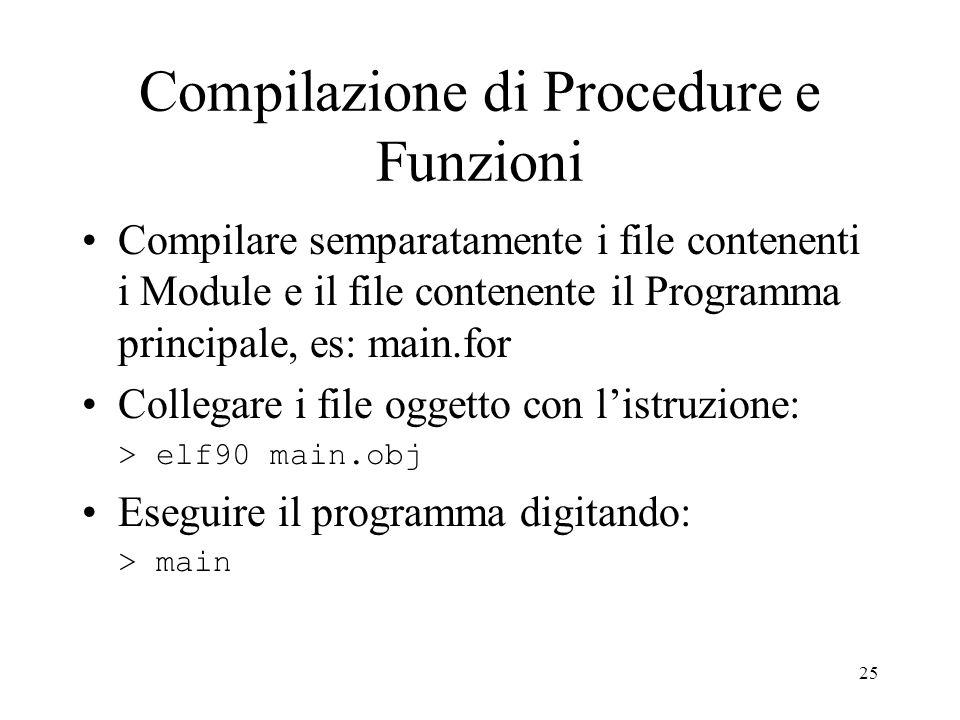 Compilazione di Procedure e Funzioni