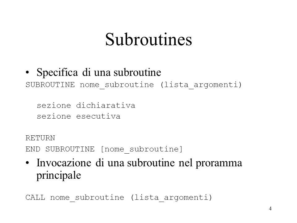 Subroutines Specifica di una subroutine