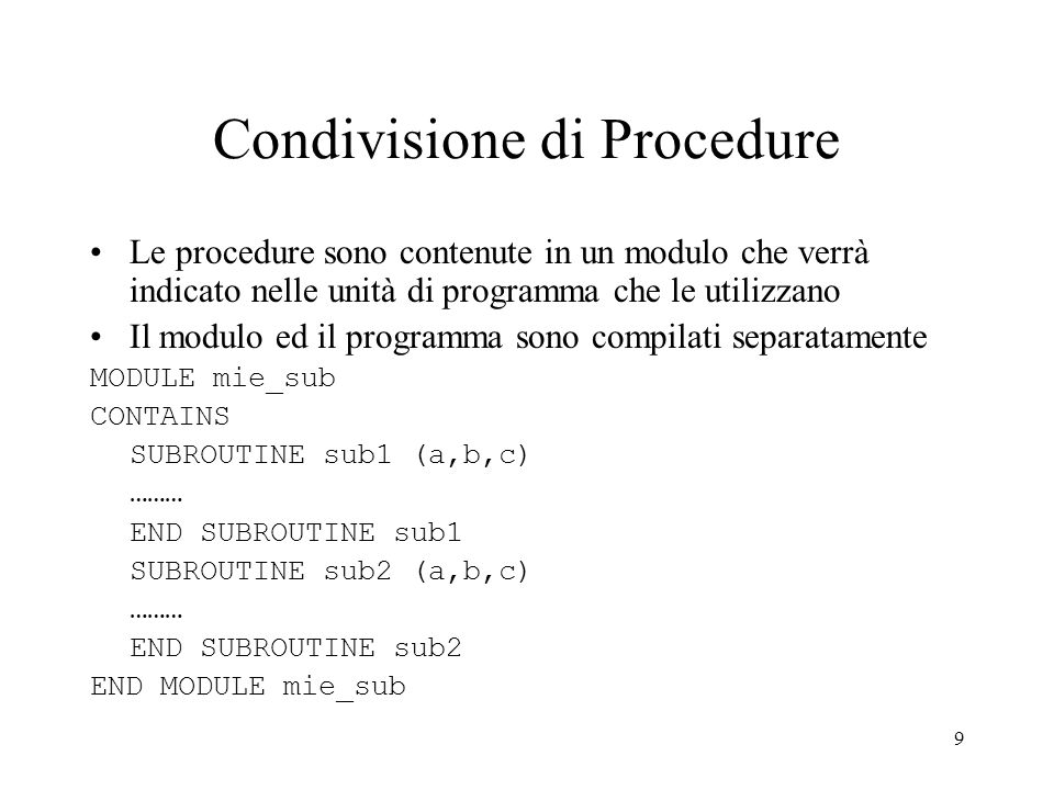 Condivisione di Procedure