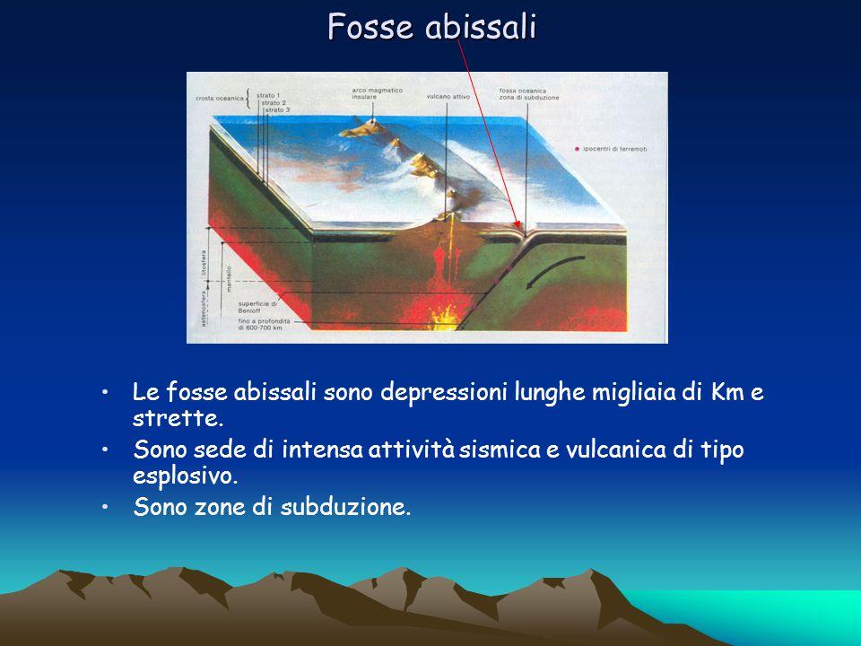Fosse abissali Le fosse abissali sono depressioni lunghe migliaia di Km e strette.